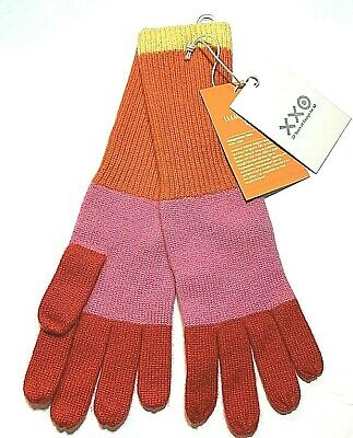 Isaac Mizrahi For Target 100% Cashmere Womens Colorblock Gloves Pink Orange NWT