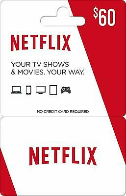 Netflix Gift Card $60 Value (physical card) Free Shipping