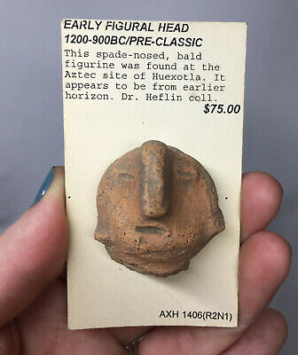 Pre-Columbian Aztec Terracotta Pottery Fragment Artifact Head Face Mayan Horn