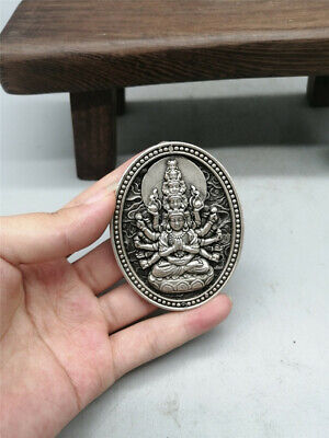 """2.56""""China Pure copper silvering Hand carving Thousand-hand Bodhisattva Pendant"""