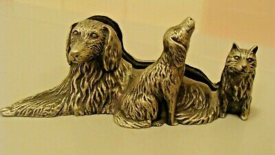 Vintage Pewter/Metal King Charles Spaniel Dog Business Card Holder