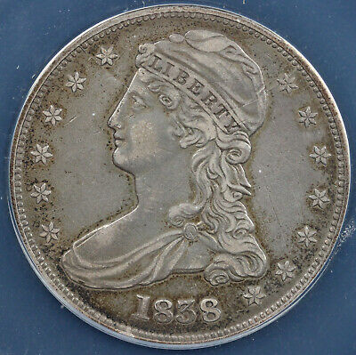 1838 50c Capped Bust Half Dollar ANACS EF 40 DETAILS SCRATCHED-CLEANED