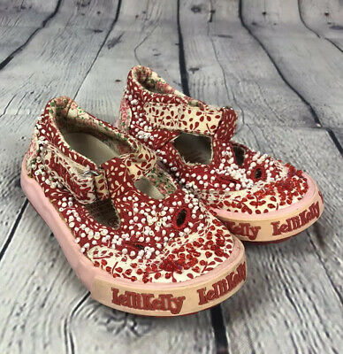 Lelli Kelly Girls Sequin Mary Janes Shoes Sz 21 5.5 Red White