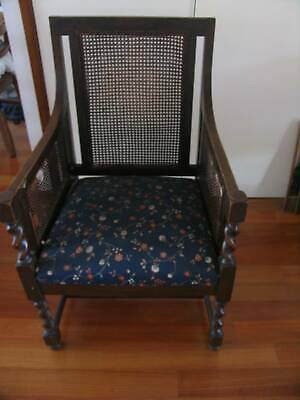 Antique wicker/ wooden  carved armchair 110 Yrs old