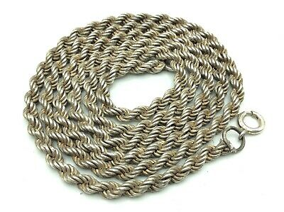Fantastic Vintage Solid Sterling Silver Rope Necklace Chain 70cm Long