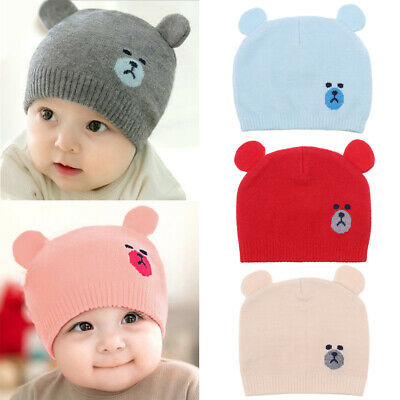 Toddler Kids Boys Girls Cartoon Cute Beanie Cap Thick Warm Baby Knit Hat