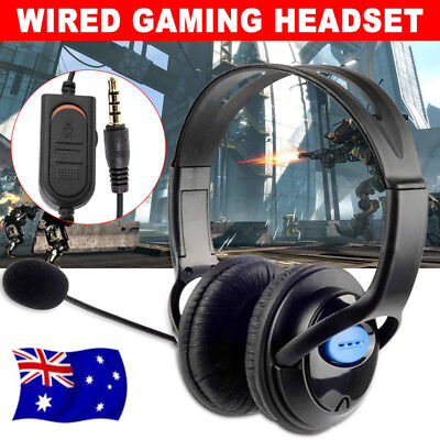 OZ Gaming Headset Headphone Microphone Volume Wired for PS4 PlayStation 4