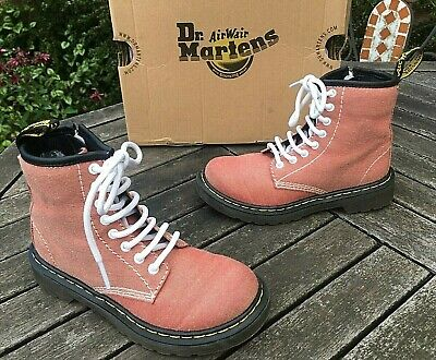 Dr. Martens Delaney Junior red Chambray canvas boots side zip UK 11 EU 29 boxed