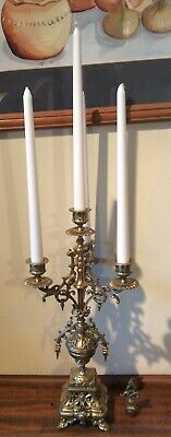 Antique very large heavy 3 arm 4 candle brass candelabra