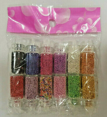 Pack Of 12 Nail Art Caviar Bottles Containers For Nail Technicians & Home Use