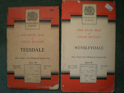 84 90 Teesdale Wensleydale  Os Ordnance Survey Maps One Inch Seventh Series