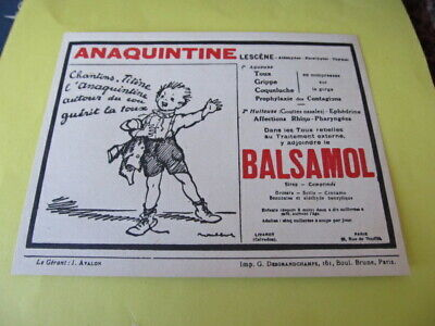 Anaquintine / Balsamol  - Publicite Medicale - Pharmacie - Poulbot 1934.