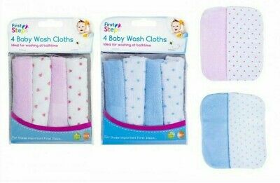 First Steps Pack Of Four Softest Baby Wash Cloths New Born Baby Boy Girl Towel F