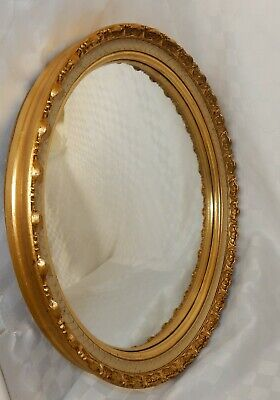 Vintage Retro Atsonea Gilt & Cream Framed Round Convex Wall Mirror