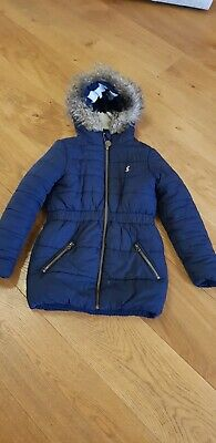 Joules Girls Winter Quilted Merrydale Coat age 7-8 navy blue