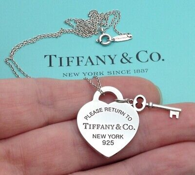 Tiffany & Co Sterling Silver Return To Tiffany Heart Tag & Key Pendant Necklace