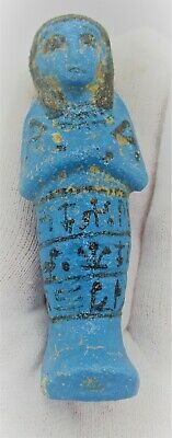 Ancient Egyptian Glazed Faience Ushabti Shabti With Heiroglyphics