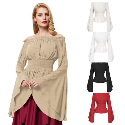 Women 50s Retro Gothic Victorian Steampunk Off Shoulder Tops Pleated Blouse PLUS