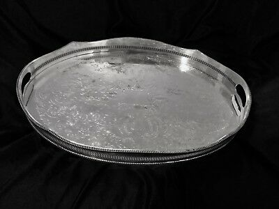 Antique Siver Plated Gallery Tray Made By Sheffield England In 19 Century.