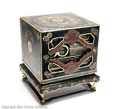 Antique Chinese Lacquer Ware Gilded Nesting Wedding Dowry Box / Chest