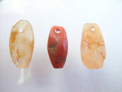 3 Ancient Neolithic Quartz, Red Jasper Amulets, Stone Age, VERY RARE !!  TOP !!