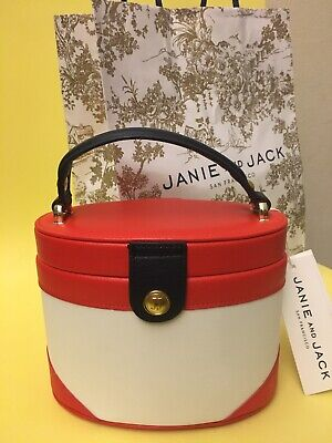 NWT Janie /& Jack Quilted Colorblock Purse Black White Designer HTF Woven Chain