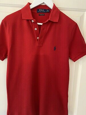 Polo Ralph Lauren Red Mens Polo  Shirt Slim Fit XS