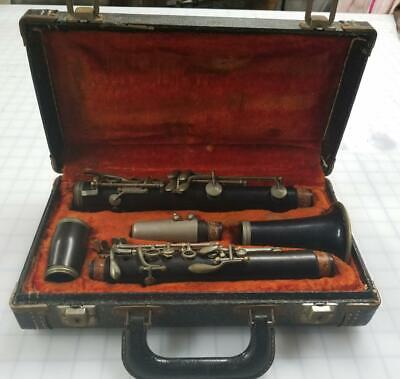 Vintage Conn Victor Wood Clarinet Complete All Pieces Musical Instrument W/Case
