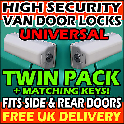 UNIVERSAL VW Caddy Rear Sliding Side Load Doors Van Security Lock Pair Twin Pack