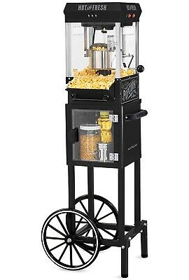 NOSTALGIA 2.5 OZ Professional Popcorn Concession Cart with Storage Black Popper