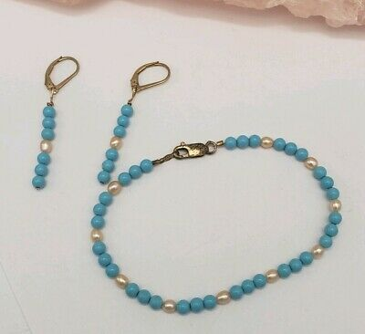 Antique 14 K Gold Filled Turquoise And Pearls Bracelet Earrings Set