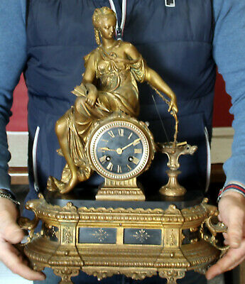 Antique French Mantel Clock Bronze/Brass Clock Diana the Goddess of Hunting 1880