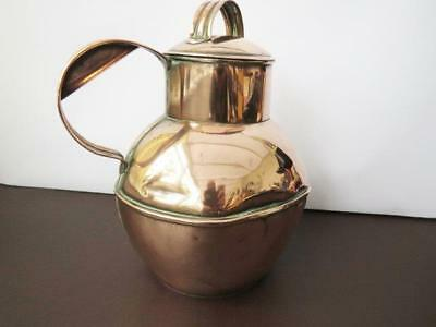 19th Century Guernesey Copper Milk Jug With Medallion To Face