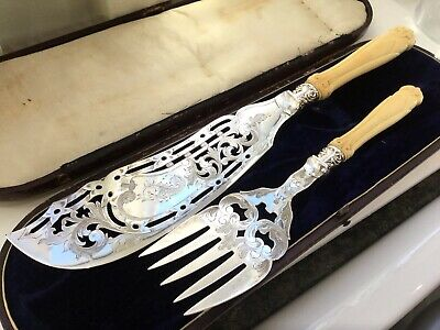 Superb Antique Victorian Thomas Turner Silver Plated Chased Fish Servers