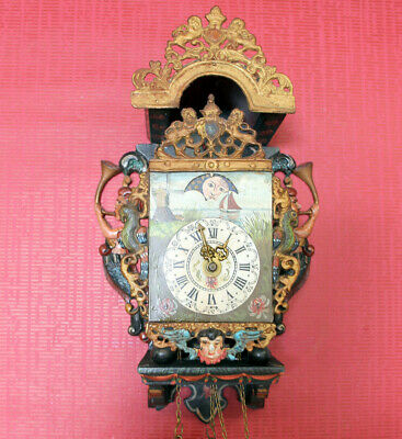 Antique Wall Clock Dutch Stultyen Stool Clock*STOELKLOK *Dutch Clock+MOONPHASE