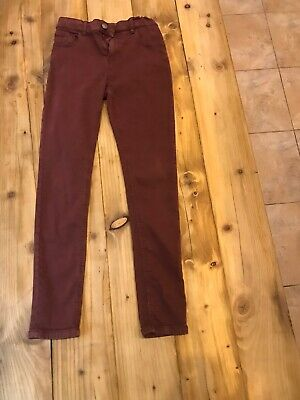 Boys Burgundy Skinny Jeans by M and age S 12-13 years good condition