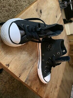 Converse Girls CTAS Black/wh Graphite Glitter High Top Leather Trainers Size 12