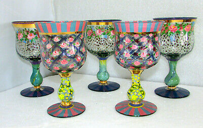 5 Mackenzie Childs Tall Water Goblets Circus Rose Arbor Roses And Dots