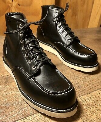 Men's RED WING 9075 Heritage Classic Moc Black Harness Leather Boots Size 10 D