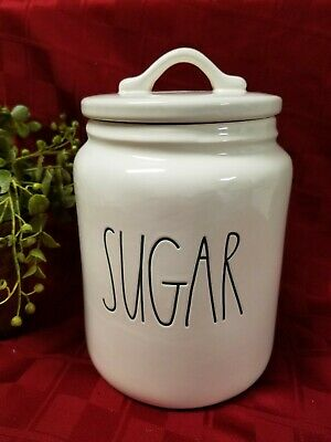 """""""NEW"""" Rae Dunn by Magenta """"SUGAR"""" Large Chubby Canister Farmhouse Letter"""