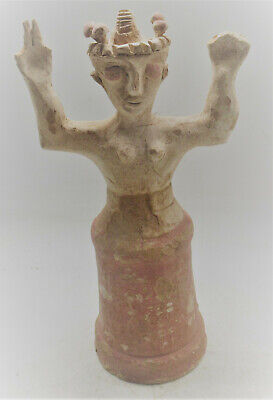 Scarce Ancient Greek Minoan Terracotta Standing Worshipper Figurine 1000Bce