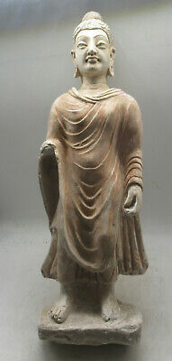 Finest Circa 200-300Ad Ancient Gandhara Stucco Statue Standing Buddha 40Cm