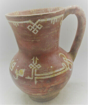 Very Rare Ancient Persian Khorasan Glazed Decorated Ceramic Jug With Handle