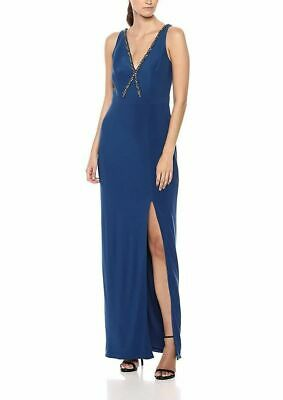 Adrianna Papell Women's Blue Size 6 Embellished Slit Gown Dress