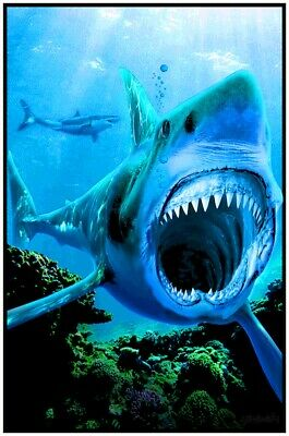 "Shark Attack  Blacklight Poster - 23""X35"" Flocked"