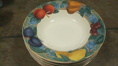 Forbidden Fruit ~ Set Of (4) Soup Bowls, #9024,  From Victoria & Beale, Euc