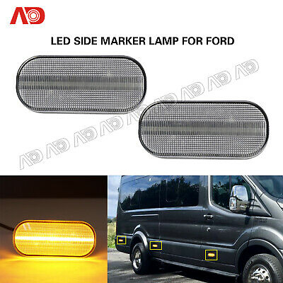 For Ford Transit MK8 2014-2019 Clear Led Side Marker Light Lamp Front Amber 2PC
