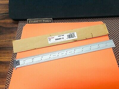 "STARRETT No.CD604R  12"" Long Double Hook Spring-Tempered Steel Rule With 4R Grad"