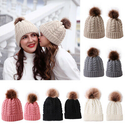 Mom&Newborn Baby Boy Girls Winter Warm Double Pom Bobble Knit Beanie Hat Kid Cap