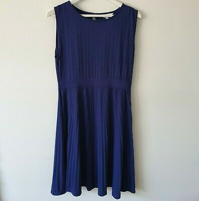 Ripe Maternity Navy Pleated Ribbed A-line Jersey Dress L Classic Work Casual